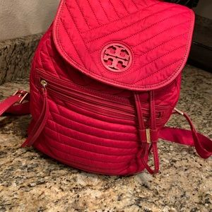 Tory Burch quilted kir royale nylon red backpack